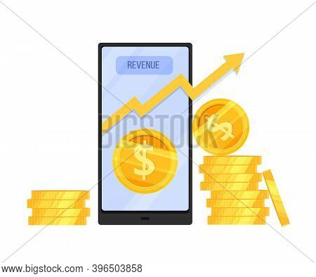 Revenue Increase Or Income Growth Vector Stock Concept With Dollar Coin Stacks, Smartphone, Moving U