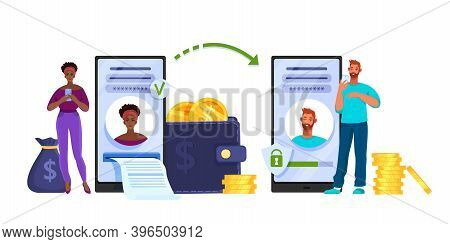 Money Transfer Or Mobile Internet Payment Vector Concept With Woman, Man, Smartphone, Wallet, Coins.