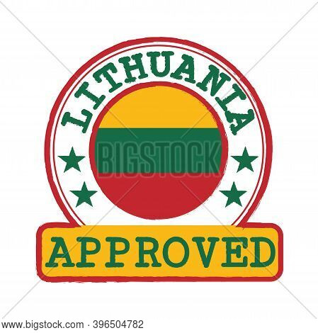 Vector Stamp Of Approved Logo With Lithuania Flag In The Round Shape On The Center. Grunge Rubber Te