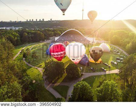 Vilnius, Lithuania - July 3, 2020: Colorful Hot Air Balloons Taking Off In Vingis Park In Vilnius Ci