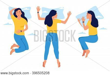 Young Woman Sleeping In Bed In Different Positions.girl With Fitness Tracker On Her Wrist.device Con