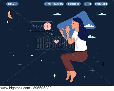 Woman Lying In Bed On The Side With Sleeping Tracker On Her Hand.website Page Template.device Contro