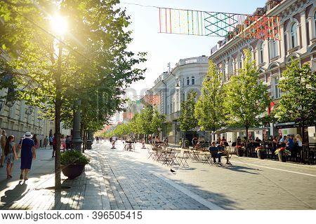 Vilnius, Lithuania - July 14, 2020: Daily Life On Gediminas Avenue, The Main Street Of Vilnius, Lith