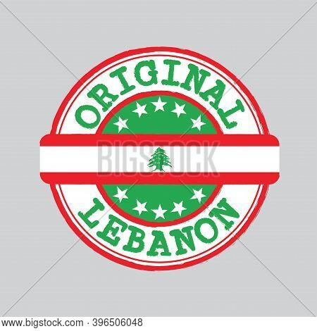 Vector Stamp Of Original Logo With Text Lebanon And Tying In The Middle With Nation Flag. Grunge Rub