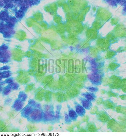 White Spiral Pattern. Tie Die Fabric Design. Grunge Background. Green Edge Swirl. 1960s Art Effect.