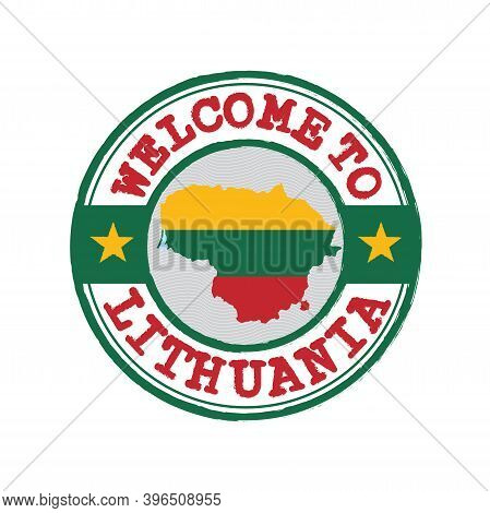 Vector Stamp Of Welcome To Lithuania With Map Outline Of The Nation In Center. Grunge Rubber Texture