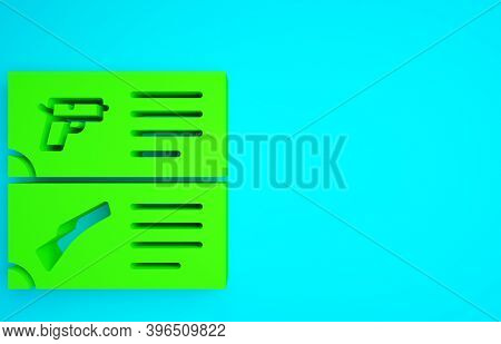 Green Weapon Catalog Icon Isolated On Blue Background. Police Or Military Handgun. Small Firearm. Mi