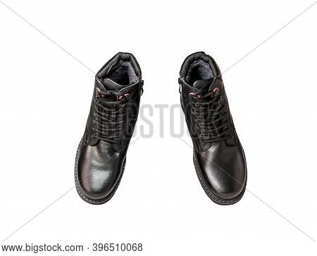Pair Of Black Genuine Leather Boots. Men's Clothing. Isolated Over White Background. View From Above