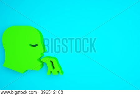 Green Vomiting Man Icon Isolated On Blue Background. Symptom Of Disease, Problem With Health. Nausea