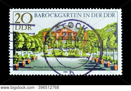 East Germany - Circa 1980 : Cancelled Postage Stamp Printed By East Germany, That Shows Baroque Gard