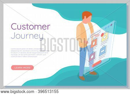 Mobile Shopping Distance Purchases Flat Vector Concept. Man Selecting A Purchase In A Mobile Phone A