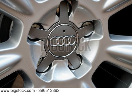Grodno, Belarus - December 2019: Audi A6 4g C7 Luxury Car Closeup Alloy Wheel Part With Titanium Loo