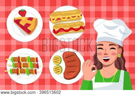 Young Woman In Cook Clothes And Special Cap Makes Ok Gesture With Fingers And Set Of Prepared Dishes