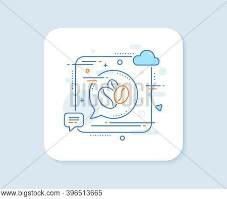 Coffee Beans Line Icon. Abstract Square Vector Button. Hot Cappuccino Seed Sign. Roasted Seeds Symbo