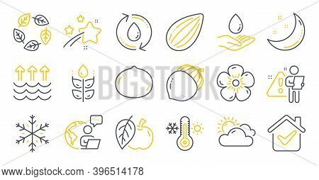 Set Of Nature Icons, Such As Acorn, Refill Water, Macadamia Nut Symbols. Almond Nut, Thermometer, Sn