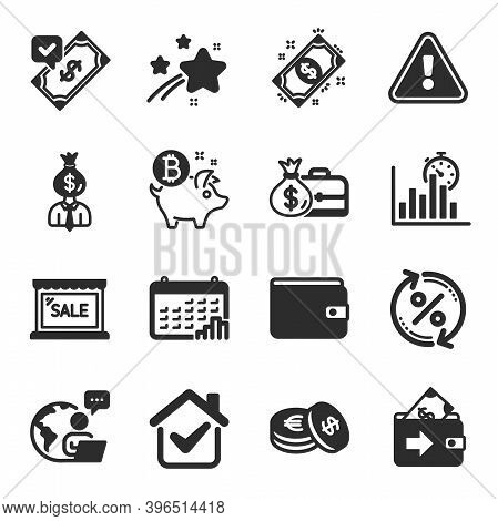 Set Of Finance Icons, Such As Bitcoin Coin, Report Timer, Manager Symbols. Calendar Graph, Money Wal