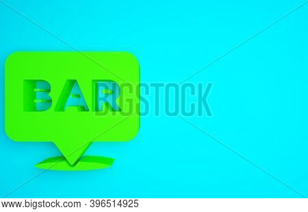 Green Alcohol Or Beer Bar Location Icon Isolated On Blue Background. Symbol Of Drinking, Pub, Club,