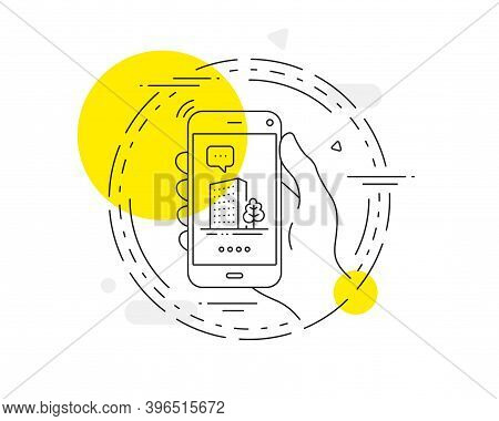 Buildings Line Icon. Mobile Phone Vector Button. City Architecture With Tree Sign. Skyscraper Buildi