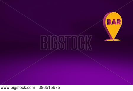 Orange Alcohol Or Beer Bar Location Icon Isolated On Purple Background. Symbol Of Drinking, Pub, Clu