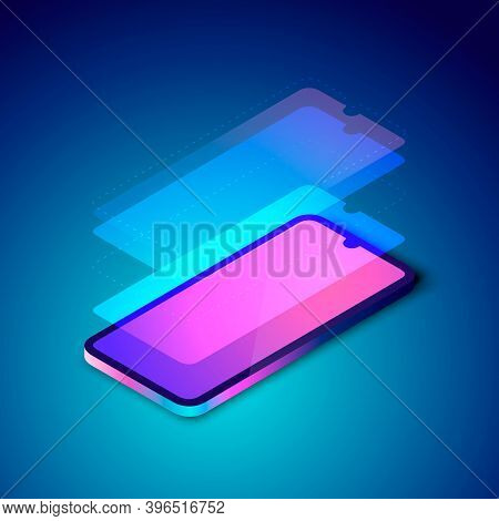 Colorful Illustration Of Smartphone Screen Layers. Technology Screen Sctructure, Layered Phone Displ