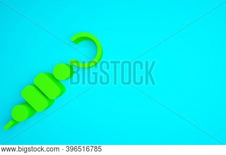 Green Grilled Shish Kebab On Skewer Stick Icon Isolated On Blue Background. Meat Kebab On Skewer Sti