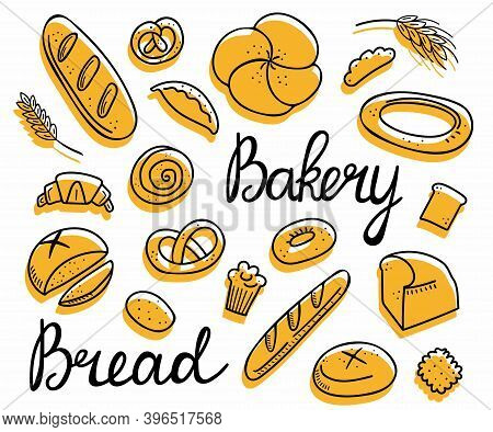 Bread Doodle Set. Bakery Products, Hand Drawn Baguette, Croissant And Bagel, Line Pastry Cake And Do