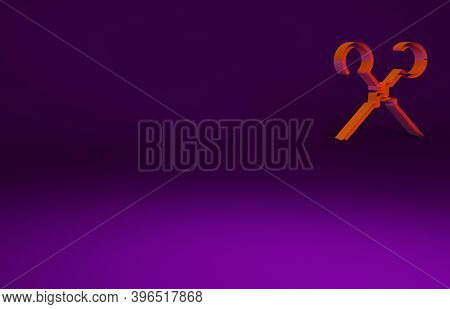 Orange Bbq Skewers Icon Isolated On Purple Background. Meat Kebab On Skewer Stick. Picnic With Grill