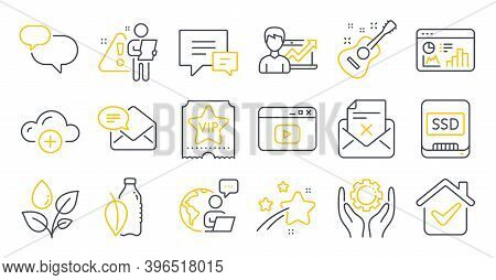 Set Of Business Icons, Such As New Mail, Vip Ticket, Plants Watering Symbols. Water Bottle, Success