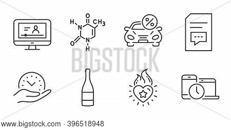 Comments, Heart Flame And Champagne Bottle Line Icons Set. Time Management, Car Leasing And Safe Tim