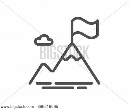 Mountain Flag Line Icon. Goal Challenge Sign. Leadership Symbol. Quality Design Element. Linear Styl