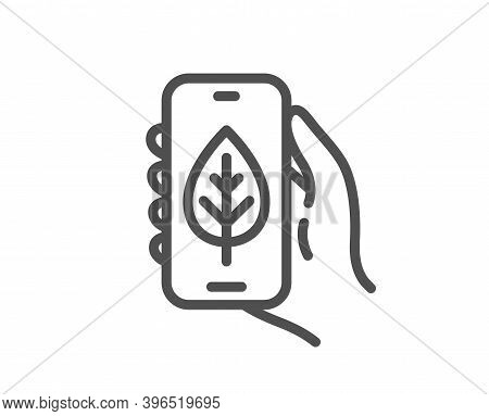 Ecology App Line Icon. Hand Hold Phone Sign. Cellphone With Screen Notification Symbol. Quality Desi