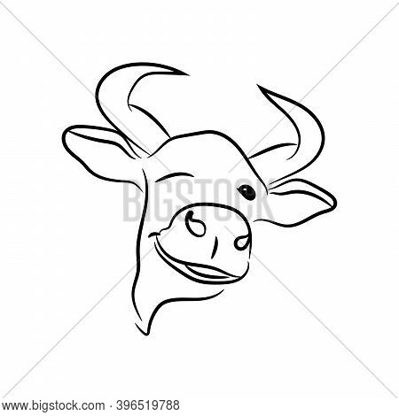 The 2021 Festive Bull Winks And Smiles. The Bull Is Isolated On A White Background. Vector Illustrat