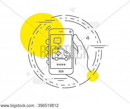 Ambulance Car Line Icon. Mobile Phone Vector Button. Medical Emergency Transport Sign. Ambulance Car