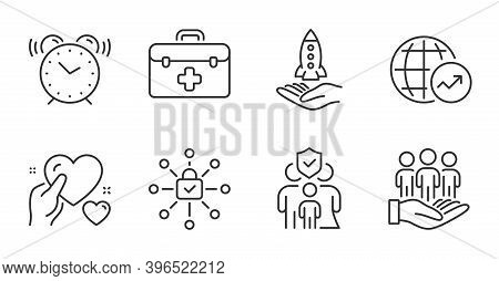 Hold Heart, Family Insurance And First Aid Line Icons Set. Best Buyers, Alarm Clock And World Statis