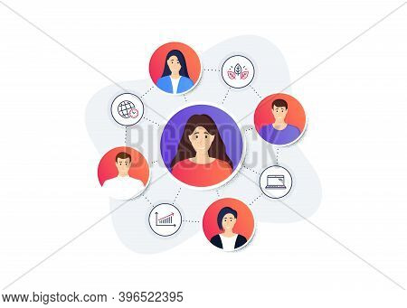 Set Of Science Icons, Such As Organic Tested, Laptop, Time Zone Symbols. Online Team Work Banner. Em