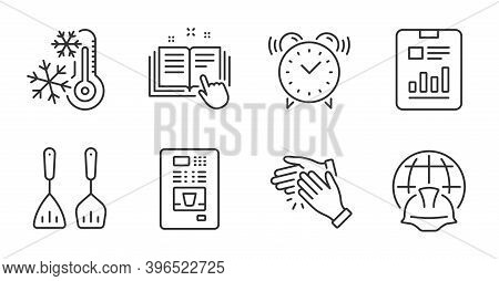 Technical Documentation, Cooking Cutlery And Alarm Clock Line Icons Set. Report Document, Coffee Ven