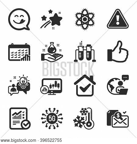 Set Of Technology Icons, Such As Freezing, Chemistry Atom, Chemistry Lab Symbols. Calendar Graph, Ch