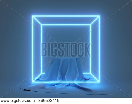 Product stand with fabric on podium and glowing neon cube, 3D illustration, rendering.