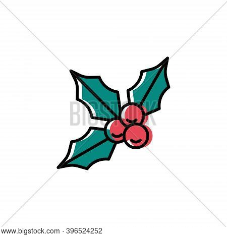 Holly Berries Vector Icon In Trendy Minimalist Style For Christmas. Cute Bright Holly Isolated On Wh