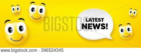 Latest News Symbol. Smile Face With Speech Bubble. Media Newspaper Sign. Daily Information. Smile Ch