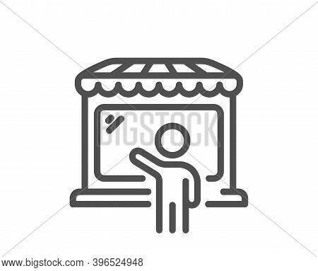 Market Seller Line Icon. Wholesale Store Buyer Sign. Retail Marketplace Symbol. Quality Design Eleme