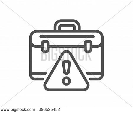 Warning Briefcase Line Icon. Attention Triangle Sign. Caution Diplomat Symbol. Quality Design Elemen