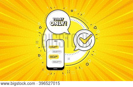 Today Only Sale Symbol. Yellow Vector Button With Phone. Special Offer Sign. Best Price. Today Only