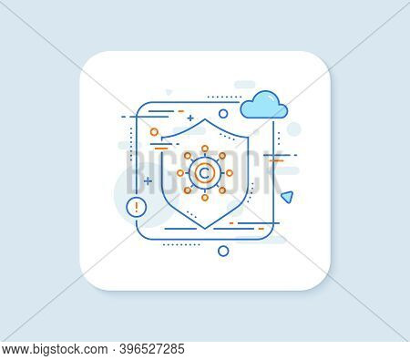 Copywriting Network Line Icon. Abstract Vector Button. Copyright Sign. Content Networking Symbol. Co