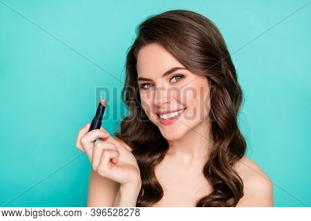 Close-up Portrait Of Her She Nice Attractive Pretty Cheerful Wavy-haired Teen Girl Applying New Beig