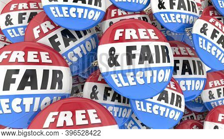 Free and Fair Election Buttons Pins Vote Democracy Pride 3d Illustration