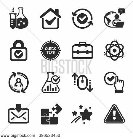 Set Of Technology Icons, Such As User Info, Security Confirmed, Security Lock Symbols. Chemistry Fla