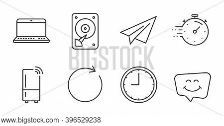 Notebook, Smile Chat And Timer Line Icons Set. Time, Hdd And Synchronize Signs. Refrigerator, Paper