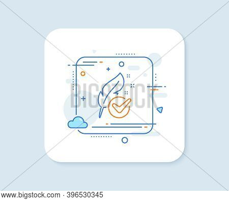 Hypoallergenic Tested Line Icon. Abstract Square Vector Button. Feather Sign. No Synthetic Symbol. H