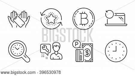 Parking Payment, Repairman And Time Management Line Icons Set. Smartphone Holding, Bitcoin And Recov